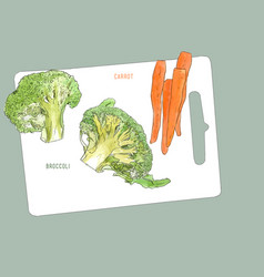 broccoli and baby carrot cutting board and vector image