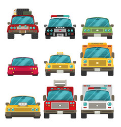 Car icon set in flat style front view vector