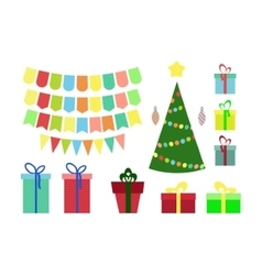 Christmas and New year set gift box tags flags vector image