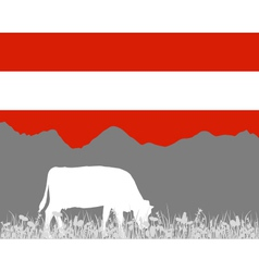 Cow alp and austrian flag vector