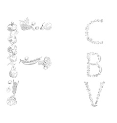 decorative font with fruit and vegetable letter c vector image vector image
