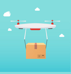 Drone carrying carton box delivery concept vector
