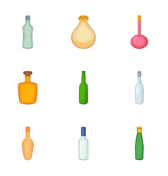 Emprty beer bottle icons set cartoon style vector