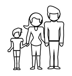 Family together lovely outline vector