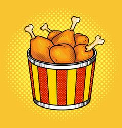 Fast food chicken legs bucket vector