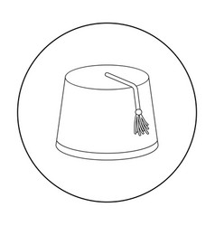 Fez icon in outline style isolated on white vector