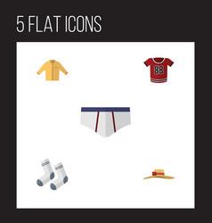 Flat garment set of underclothes elegant headgear vector