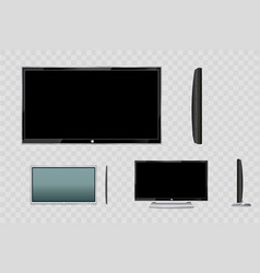 Flat led monitor of computer or black photo frame vector
