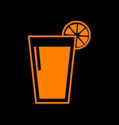 glass of juice icons orange icon on black vector image