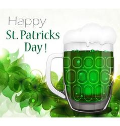 Green beer on clover background vector image