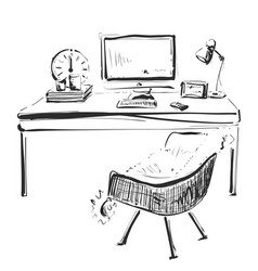 hand drawn workplace chair and computer sketch vector image