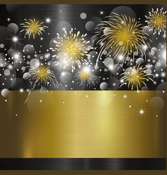happy new year design on metal background vector image