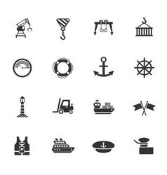 Harbor icon set vector