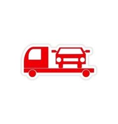 Icon sticker realistic design on paper tow truck vector