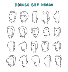Isolated mens heads with different facial vector image vector image