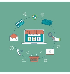 Mobile marketing and online store concept flat vector image