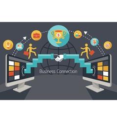 Online Connection Concept Shake Hands Achievement vector image