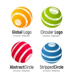 orange global logo template green circular simple vector image vector image