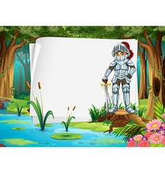 Paper design with knigt in the jungle vector image