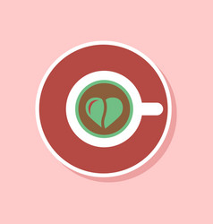 paper sticker on stylish background cup coffee vector image