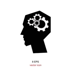 Pictograph of gear in head vector