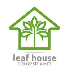 real estate leaf house design icon vector image