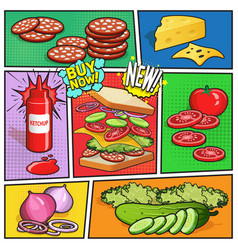 sandwich advertising comic page vector image