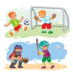Set icons of boys playing football and baseball vector