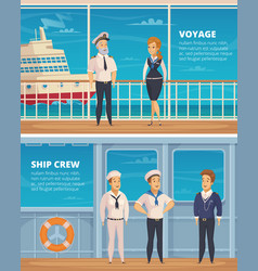 Ship crew characters cartoon banners vector