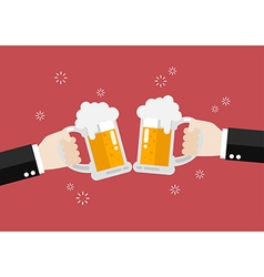 Two businessmen toasting glasses of beer vector