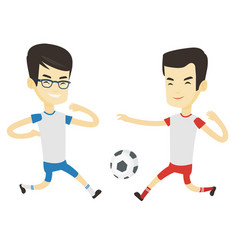 Two male soccer players fighting for ball vector