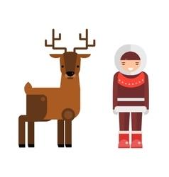 Wild deer animal and eskimo people flat vector image vector image