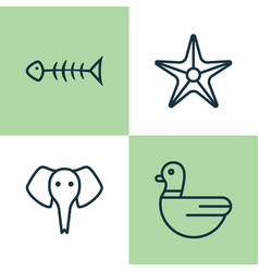 Zoo icons set collection of trunked animal vector