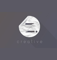 Z letter logo with crumpled and torn wrapping vector