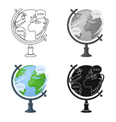 globe of various languages icon in cartoon style vector image