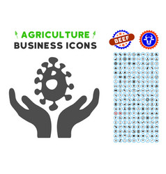 Biotechnology icon with agriculture set vector