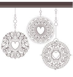 snowflakes or christmas decorations hanging in a vector image