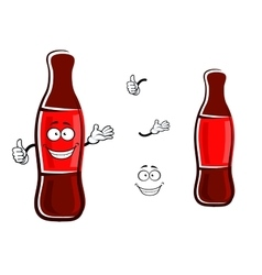 Cartoon bottle of soda with thumb up vector