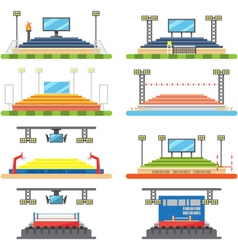 Sport stadium and stage set vector