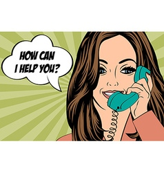 Sexy beautiful woman chatting on the retro phone vector