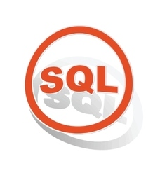 Sql sign sticker orange vector