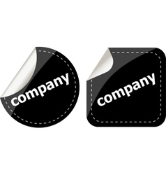 Company word on black stickers button set label vector