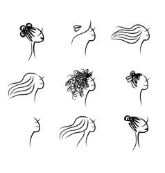 Set of female hairstyle sketch for your design vector