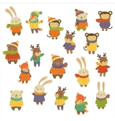 Animals wearing warm clothes vector
