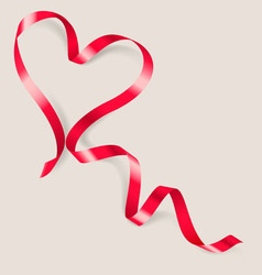Heart made of red ribbon vector