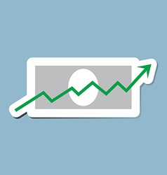 Stock raise up high with bank note vector
