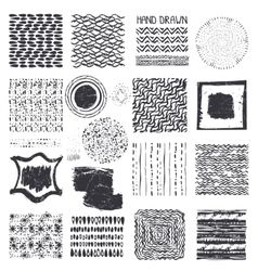 Creative hand drawn ink textures setblack vector