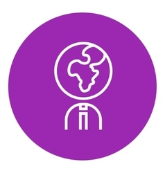 Human with globe head line icon vector