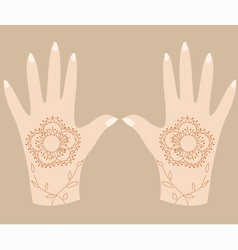 Hands with henna 2 vector