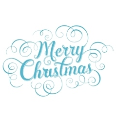 Blue lettering merry christmas for greeting card vector